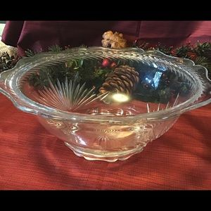 Vintage/Antique Heavy Weight Etched Crystal Bowl